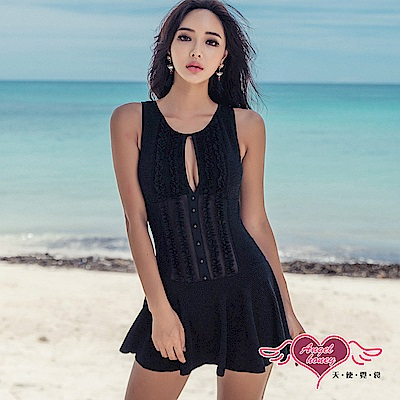 泳衣 知性優雅 一件式連身泳裝(黑M~XL) AngelHoney天使霓裳