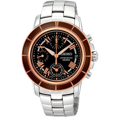 SEIKO Criteria 星光魔法計時限量腕錶(SNDY94P1)-咖啡黑x玫瑰金/36mm