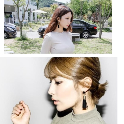 梨花HaNA-無耳洞韓國時髦世代三角流蘇耳環黑色夾式