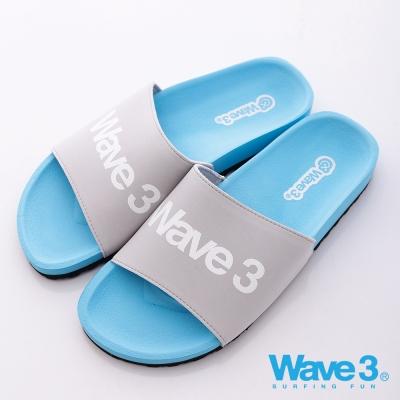 WAVE3【男】台灣製 男印刷LOGO運動休閒拖-藍灰