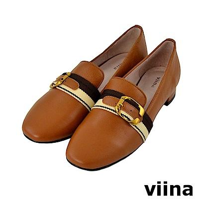 viina-休閒系列-小清新真皮配色織緞帶樂福鞋-百搭駝