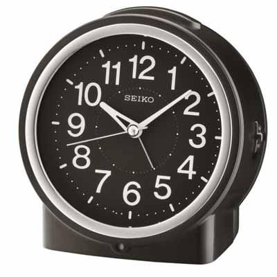 SEIKO 精工 滑動式秒針 嗶嗶聲 靜音 貪睡鬧鐘(QHE 117 K)-黑/ 12 X 11 cm