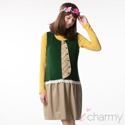 愛俏咪I charmy 典雅感綠色卡其色拼接蕾絲花邊格紋造型鈕釦設計後拉鍊背心洋裝