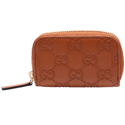GUCCI 經典Guccissima GG壓紋牛皮拉鍊零錢包(桔色)