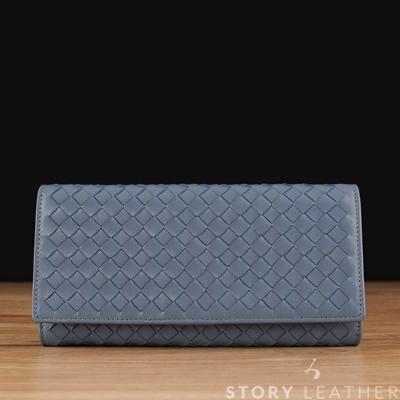 STORY 皮套王 - 羊皮編織長夾 Style 90744 小羊皮鋼藍現貨