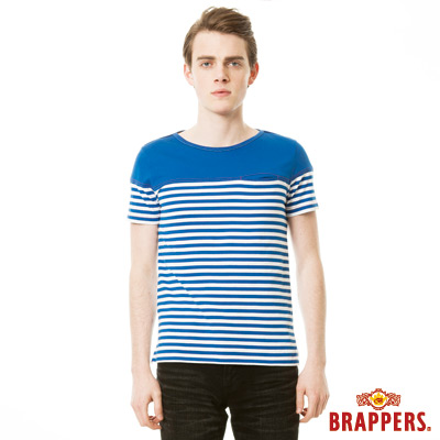 BRAPPERS 男款 胸前剪接條紋短袖上衣-寶藍