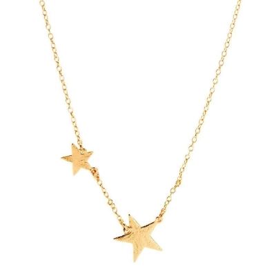 GORJANA 美國品牌 Super Star Necklace波浪紋幸運雙星鑲18K金項