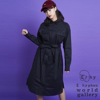 E hyphen 俐落剪裁腰綁帶襯衫洋裝
