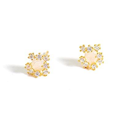 微醺禮物 正韓 鍍K金針 蛋白圓鋯 綻放的星星 香檳金 簡約精緻可愛春天 耳針 耳環