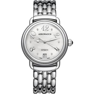 AEROWATCH 藝術珍珠貝機械腕錶-銀/35mm