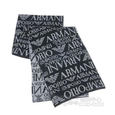 Emporio Armani 雙面織紋LOGO羊毛圍巾-黑/灰