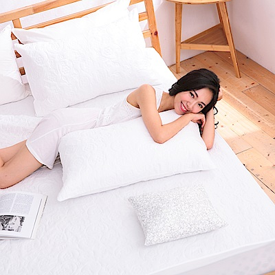 eyah宜雅 吸濕排汗大和防蹣抗菌雙效床包式保潔墊 雙人(天使白)