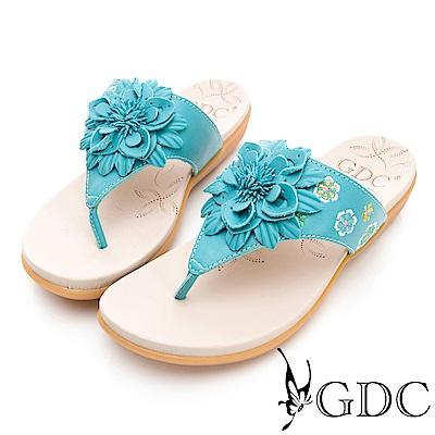 GDC-真皮氣質花朵舒適夾腳拖鞋-淺藍色