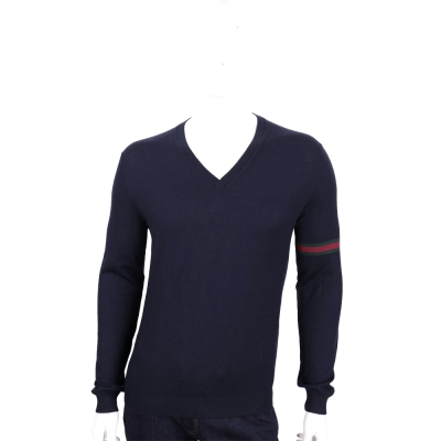 GUCCI 深藍色織帶設計V領羊毛針織長袖上衣(100%WOOL)