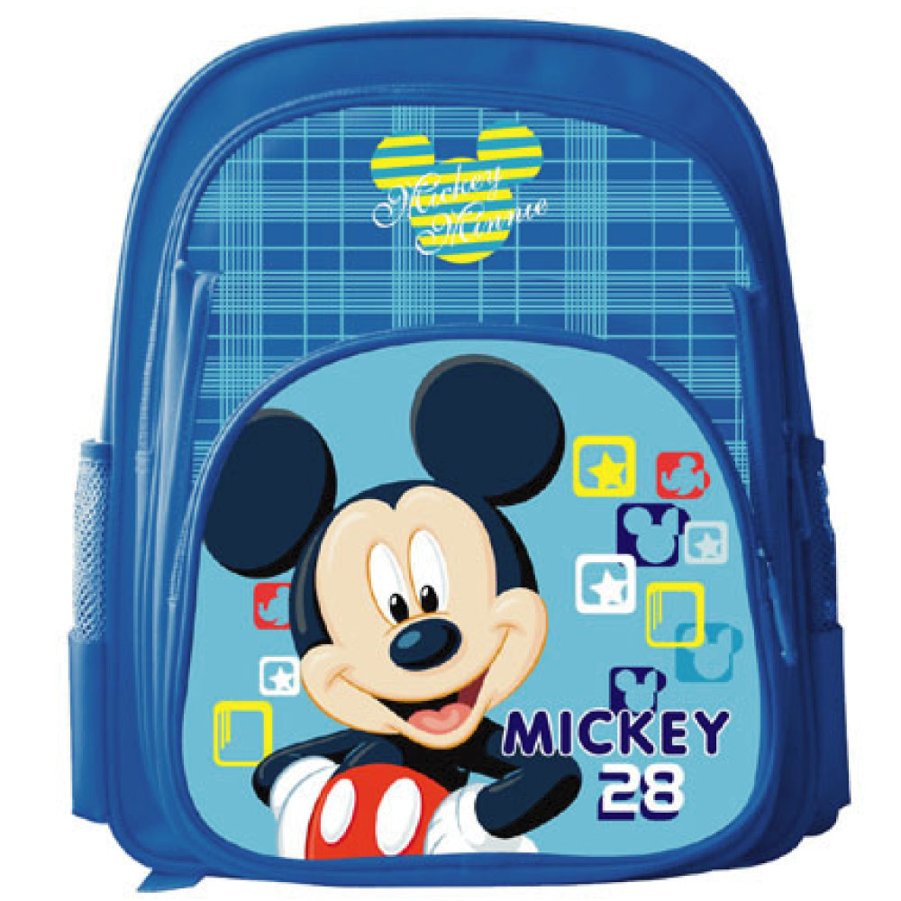 【Mickey 米奇】精緻格紋雙層書背包(藍)