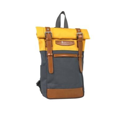 estilo - 時尚玩色系列 撞色設計 單/雙肩兩用包 - 亮黃