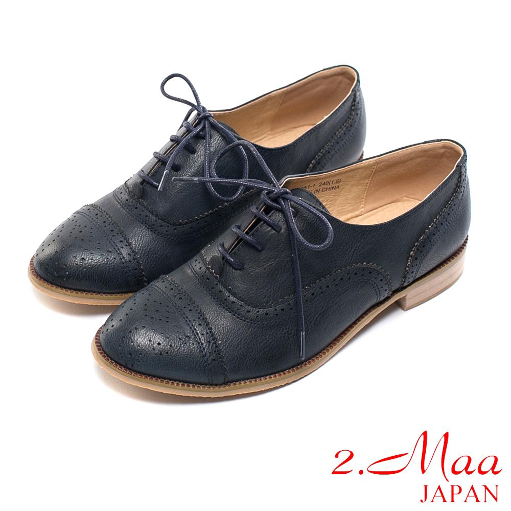 2.Maa-韓系風格沖孔雕花造型打蠟牛津鞋-紳士藍