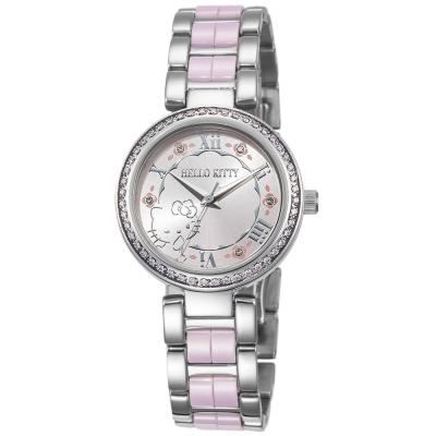 HELLO KITTY 凱蒂貓俏麗公主陶瓷手錶-粉紅/30mm