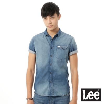 Lee  牛仔刷白短袖襯衫/RT-男款-藍