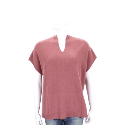 ALLUDE 莓紅色前短後長設計短袖羊毛針織上衣(70%WOOL)