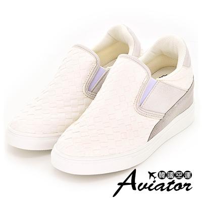 Aviator*韓國空運-正韓製尖頭拼接皮革編織增高休閒鞋-白