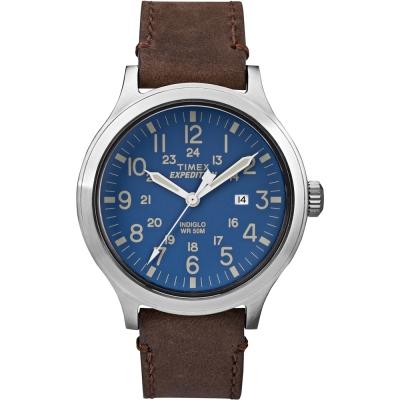 TIMEX 天美時EXPEDITION遠征戶外系列手錶-藍x咖啡/43mm