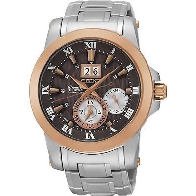 SEIKO Premier精工人動電能時尚腕錶(SNP128J1)-咖啡/41mm
