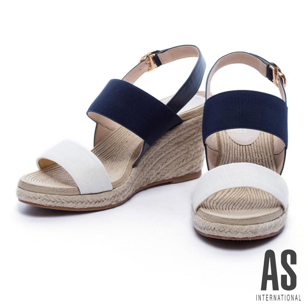 涼鞋AS寬版彈力繫帶草編楔型高跟涼鞋-藍