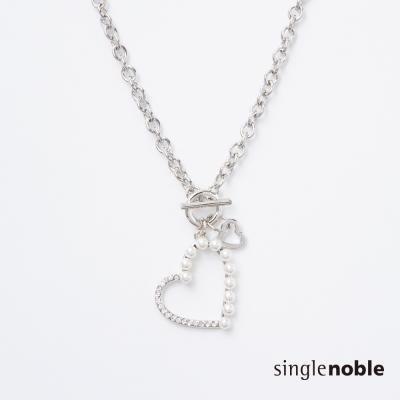 獨身貴族 浪漫約定珍珠愛心鎖鍊項鍊(1色)