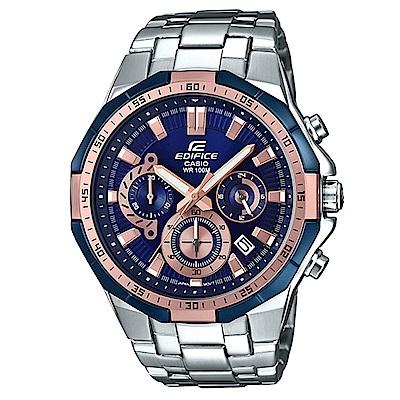 EDIFICE俐落帥氣科技感立體多角切割框賽車錶(EFR-554D-2A)藍面X金刻47