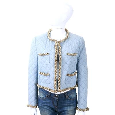 MOSCHINO 水藍色金屬鍊細節滾邊短版外套