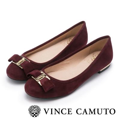 VINCE CAMUTO 歐風優雅 皮革金屬扣蝴蝶結平底鞋-絨紅
