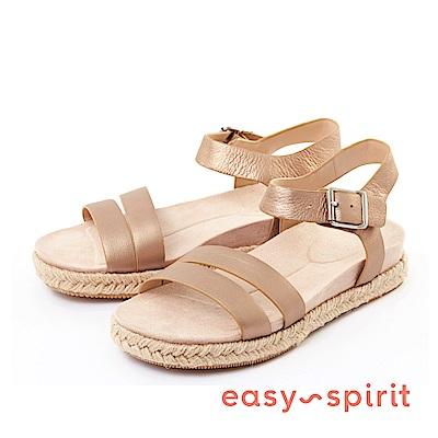 Easy Spirit--條帶草編厚底涼鞋-古銅金