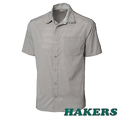 【HAKERS】男-抗UV快乾短袖襯衫 -鷹灰
