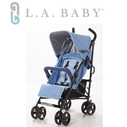 【美國 L.A. Baby】時尚輕便嬰兒手推車-藍色
