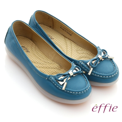effie 馬卡龍系列 摔花牛軟皮拼接蝴蝶結壓摺帆船鞋 藍