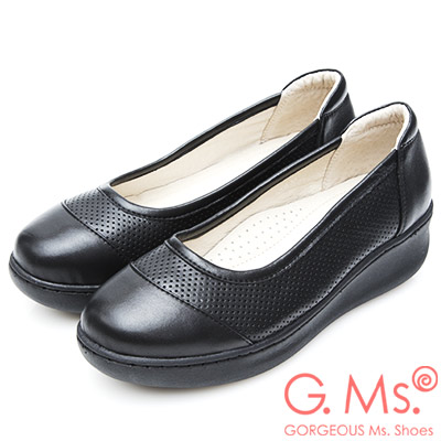G.Ms. 牛皮洞洞厚底坡跟鞋-黑色
