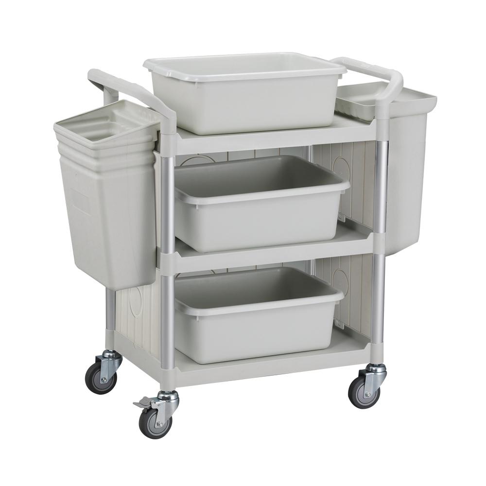 100%台灣製 標準型多功能三層三面圍邊工具餐車/置物架/手推車-全配優雅白