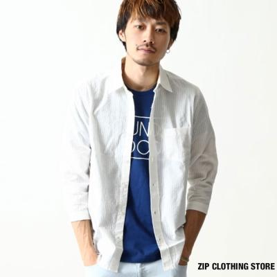 泡泡紗七分袖襯衫-ZIP日本男裝