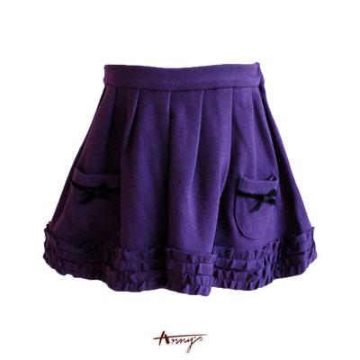 可愛雙口袋休閒短裙*紫