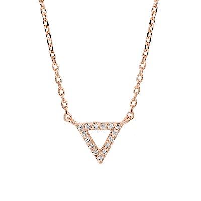 ASTRID&MIYU英國潮流品牌  倒三角水鑽玫瑰金項鍊