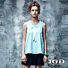 IGD英格麗 都會悠閒風蒲公英印花細褶蝴蝶結造型上衣