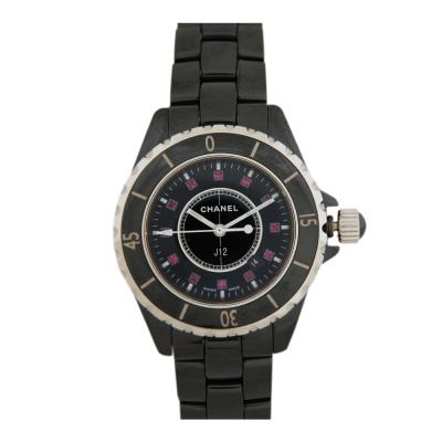CHANEL J12 H1634 陶瓷石英紅寶鑽錶-黑/34mm