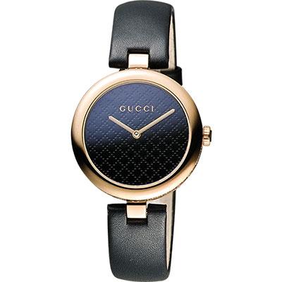 GUCCI 古馳 Diamantissima 菱格紋腕錶-黑x玫瑰金/27mm