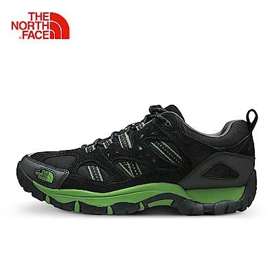 The North Face北面男款黑綠色防滑透氣徒步鞋
