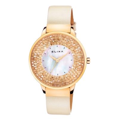 ELIXA Finesse系列金框 香檳金色晶鑽錶面/米白皮革錶帶38mm