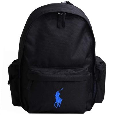 POLO Ralph Lauren 品牌LOGO圖騰刺繡尼龍後背包(黑/藍小馬)