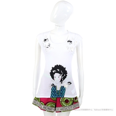 MARELLA 白色立體拼貼女孩設計短袖上衣