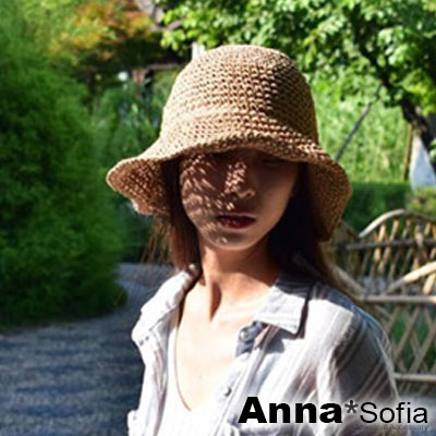 AnnaSofia 簡約編織 寬簷遮陽草帽漁夫帽草帽(駝系)