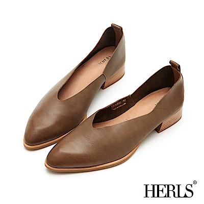 HERLS-柔軟全真皮-極簡V口低跟樂福鞋-橄欖綠